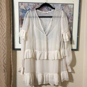 NWOT Sheer White Tiered Darla Tularosa Dress
